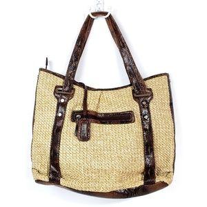 Mondani Straw & Faux Patent Leather Hobo Tote Bag